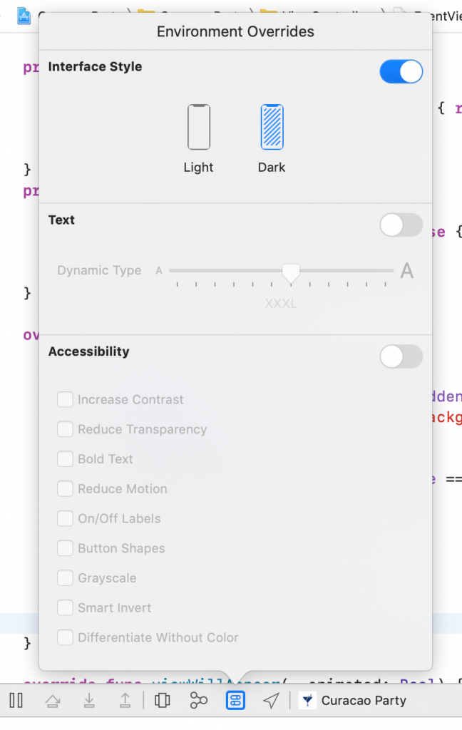 Xcode environment overrides